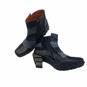 Eject Women's Steampunk Leather Boots Stacked Heel